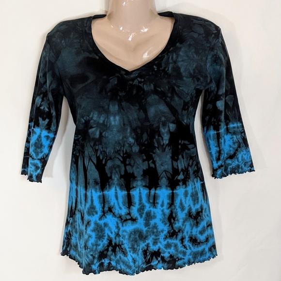 translation Tops - Tie Dye Long Sleeved Tunic Style  Boho T Shirt